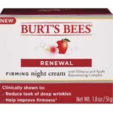 Burt's Bees Renewal Firming Night Cream w Hibiscus & Apple Complex*Free Gift*