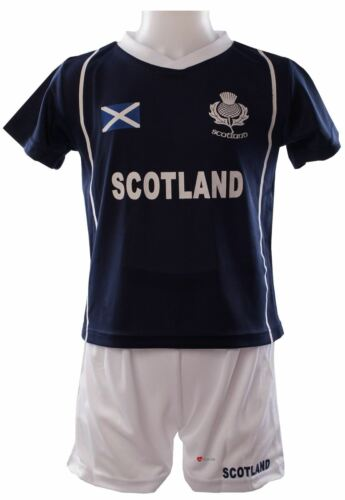 02-03 Years Children/'s Scotland Sports Kit Navy T-shirt White Shorts