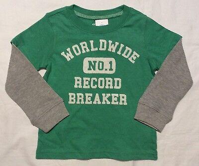 CARTER/'S Baby 24 Mo WORLDWIDE No 1 RECORD BREAKER T-SHIRT Long Sleeve 2T LS Boys