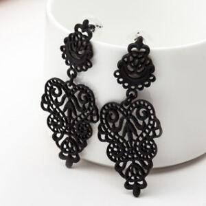 Women-Fashion-Long-Drop-Black-Dangle-Earrings-Alloy-Earrings-Leaves