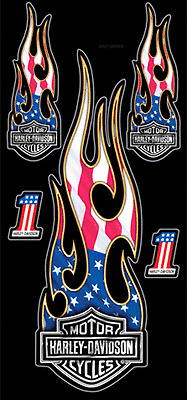 Harley-Davidson Studded B/&S Flames Decal DC419385 XL 9.3125 x 2.5 in