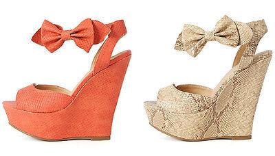 Womens Ankle Strap Bow Snake Platform Wedge High Heel Shoes Peep Toe Sandal Diva