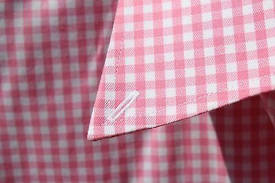 Nordstrom 17.5 Gentleman's Pink Gingham Check Non-Iron Cotton Dress Shirt