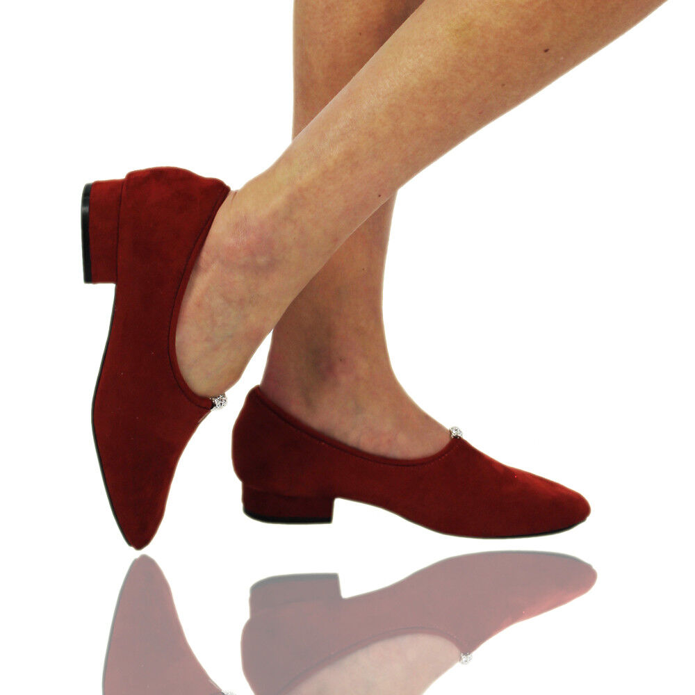 New Women's Ladies Faux Suede Round Toe Red Pumps Low Heels Casual Court Shoes