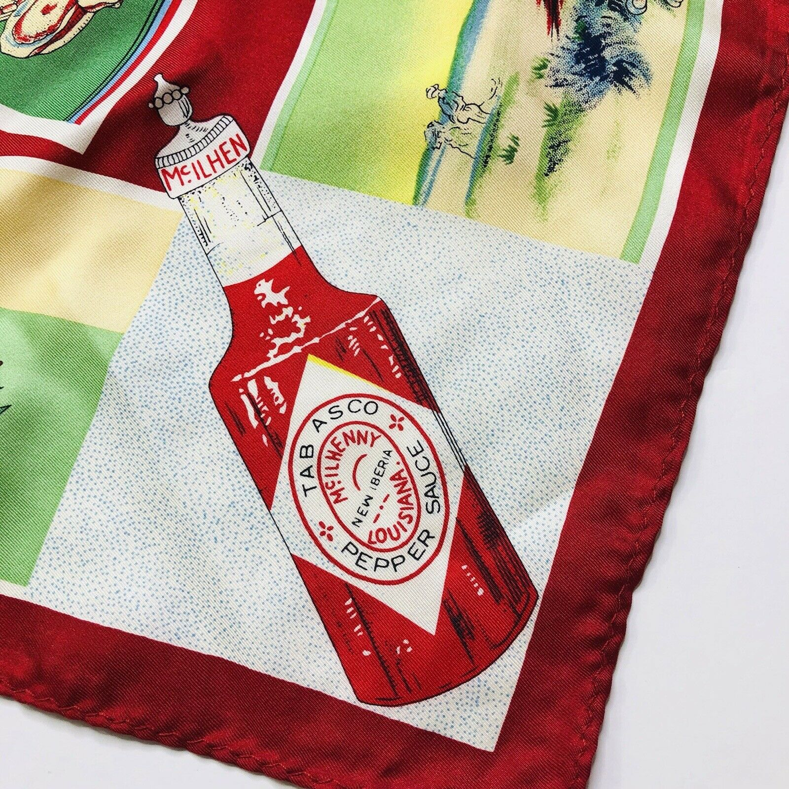 TABASCO Hot Sauce 100% Silk Scarf Red Trim Novelty Foodie Theme Square EUC