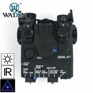BLACK WADSN DBAL-A2 LED White Flashlight BLUE Laser IR Pointer Device