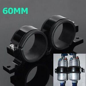 Aluminum-Dual-Fuel-Filter-Pump-Bracket-Mount-Clamp-Black-For-Bosch-044-Billet