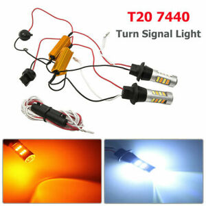 2X-7440-T20-Dual-Color-Amber-White-Switchback-LED-DRL-Turn-Signal-Light-Bulbs