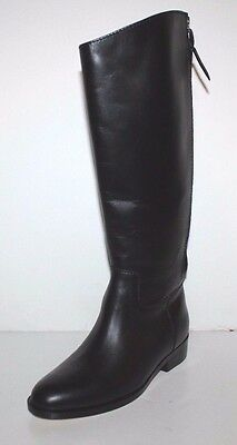 Cole Haan NWOB Women's Arlington Black Riding Boots w/ Back Offset Zipper