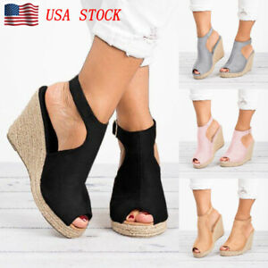 US-Womens-Sandals-Casual-Wedges-Heel-Straw-Platform-Peep-Toe-Ladies-Buckle-Shoes