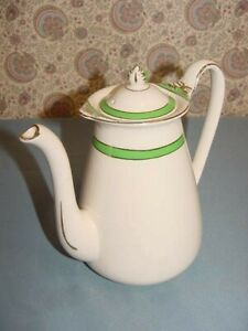 Queens Green Solian Ware Simpsons Potters Coffee Tea Pot Pitcher England Gold