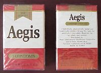 NEW OLD STOCK, VINTAGE AEGIS BRAND CONDOMS / RUBBERS CIGARETTE PACK OF 3 RUBBERS