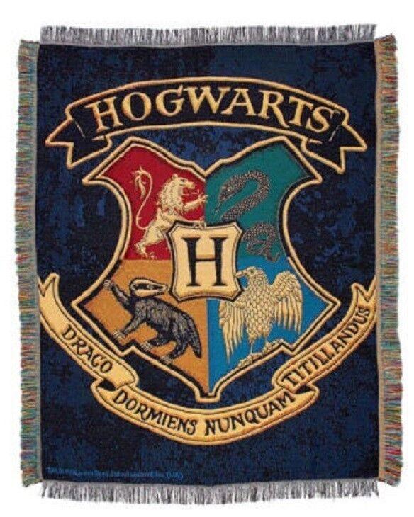 New Rare Harry Potter School Spirit Shield Crest Throw Blanket Gift Movie Book