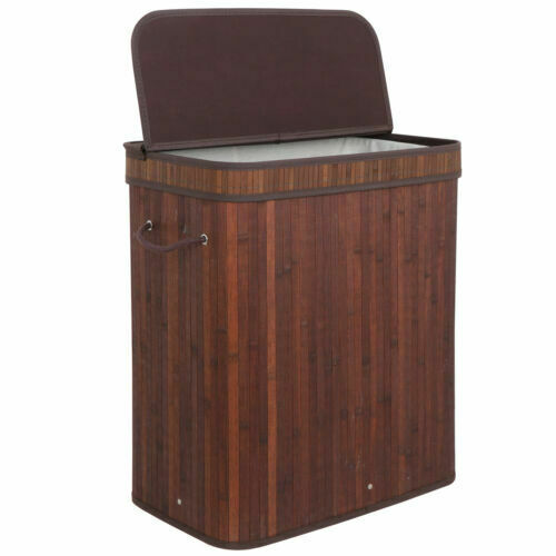 Brown Laundry Hamper Clothes Basket Storage 2 Compartment Divided Bamboo Design