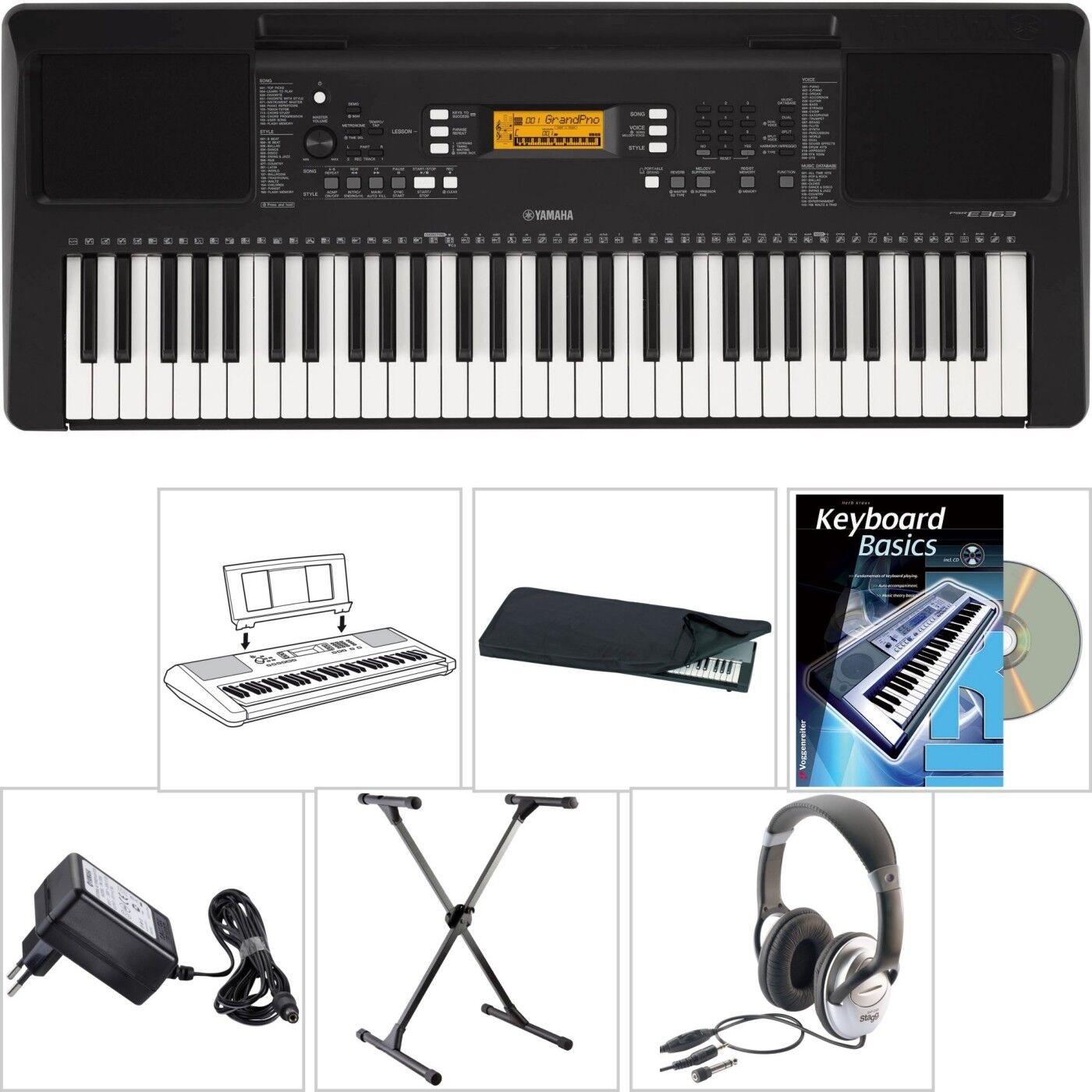 Yamaha PSR E363 Keyboard mit X-Stativ + Kopfhörer + Lern Buch CD + Schutz Hülle