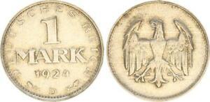 Weimar Republic 1 Mark 1924 D Vf-Xf 49016