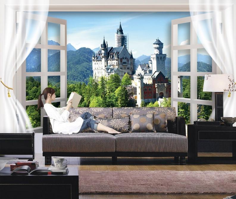 3D Schloss Fenster 805 Tapete Wandgemälde Tapete Tapeten Bild Familie DE Summer