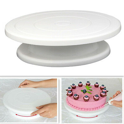 """11"""" Rotating Icing Cake Decorating Turntable Display Movable Stand Plate Board"""