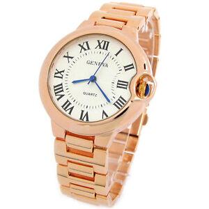 Rose-Gold-Geneva-Classic-Roman-Dial-Women-039-s-Bracelet-Watch
