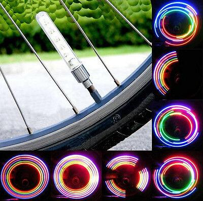 2pcs Bike Bicycle Wheel Tire Valve Spoke 32 changes Neon Cap 5 LED Lights Lamp