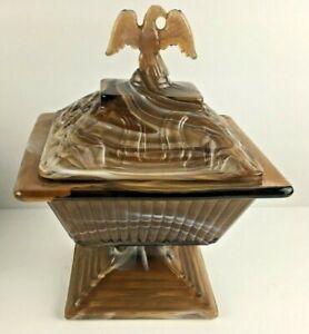 Imperial-Caramel-Brown-Slag-Covered-Pedestal-Candy-Dish-Eagle-Lid