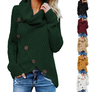 Winter-Women-Knitting-Clothes-High-Collar-Sweater-Loose-Fashion-Jacket-O-Neck-US