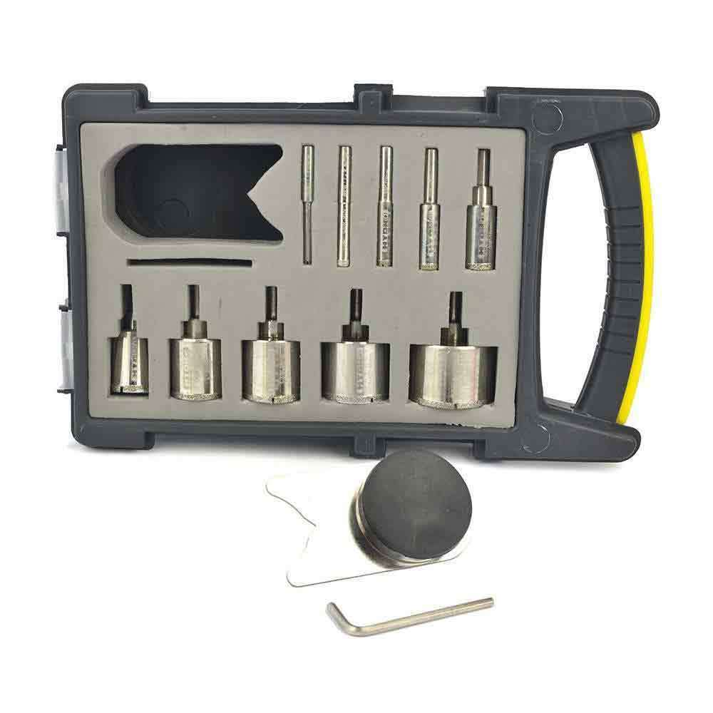 Large Drill Bit Kit - 10 Electroplated Bits and Clamp Drill Bit Guide - HHBLKIT