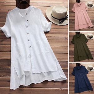 Women S Buttons Short Sleeve Irregular Cotton Linen T Shirt Blouse