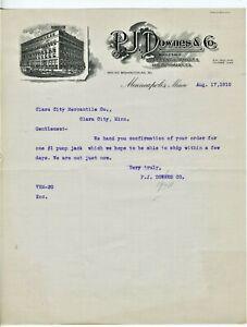 GRAPHIC-1910-MINNEAPOLIS-MINNESOTA-LETTERHEAD-P-J-DOWNES-IMPLEMENTS-VEHICLES