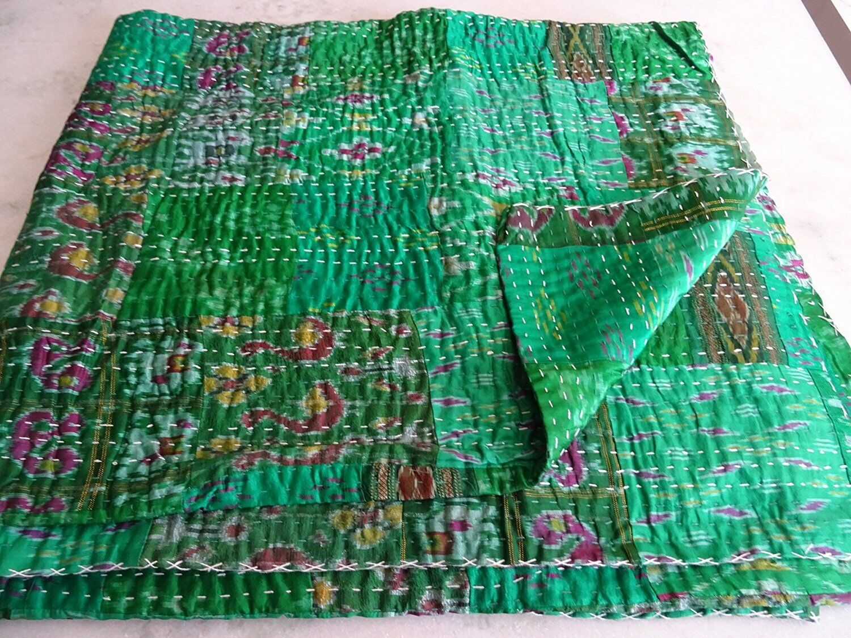 Indian silk kantha quilt patola reversible twin bedspread blanket bedding throw