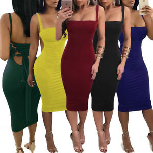 Women-039-s-Clubwear-Backless-Dress-Halter-Lace-Up-Party-Cocktail-Bodycon-Midi-Skirt