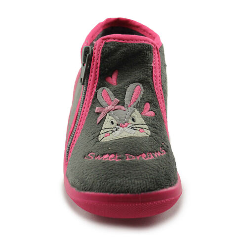 Made in France Bopy Abunny Grey Girls Warm Wool Slippers