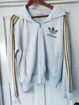 Caritatevole Adidas Felpa Con Cappuccio In Oro Bianco Giacca Vintage Vecchia Scuola 80s-mostra Il Titolo Originale
