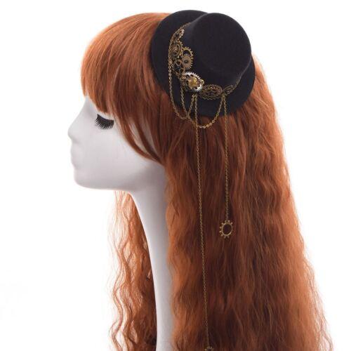Victorian Steampunk Gear Skull Head Chain Decor Mini Top Hat Hair Clip Headwear