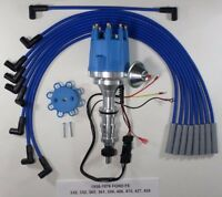 Ford Fe 352-360-390-427-428 Blue Small Cap Hei Distributor & Spark Plug Wires