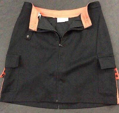 """Women's Black W/Orange AccentTAIL Golf Skort Sz 4 FrontZip - Pockets Length: 17"""""""