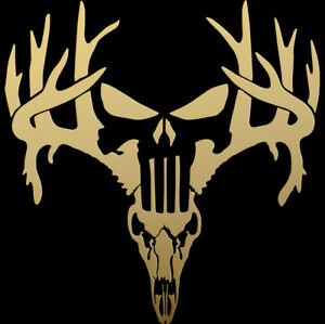 Buck Deer Antlers Skull Rifle Bow Hunter horns Buck hunting decal sticker