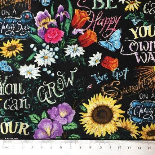 Sunflower Don/'t worry be happy Apparel Nursery Sewing Cotton Fabric 1//2 Yard