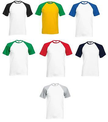 120b943f0ff6 5 Pack Men Fruit Of The Loom Baseball Short Sleeves T Shirt Tee Crew Neck