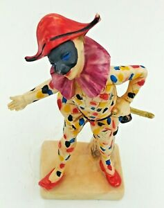 VTG-Italy-Masked-Clown-Masquerade-Red-Shoes-amp-Hat-Resin-Figurine-7-034