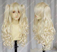 Vocaloid / seeU light blonde cosplay long curly wig + 2 clip on ponytail NO97