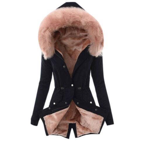 Women/'s Ladies Fur Coat Winter Warm Thick Long Jacket Hooded Outwear Overcoat US