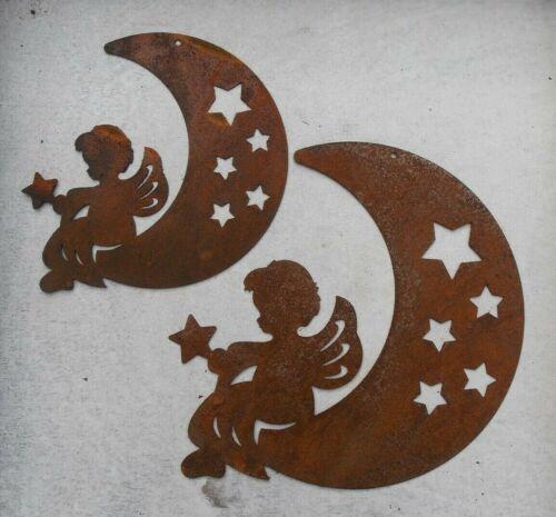 Edelrost Engel auf Mond groß 21x17cm Fensterschmuck Hänger Weihnachten