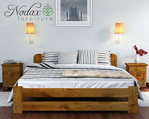 Image Is Loading NODAX New Solid Pine Double Bedframe 140x200cm European