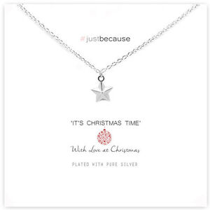 Life Charms Christmas Star Necklace – Silver Plated – Gift Card ...
