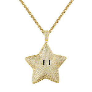Custom mario star pendant 14k gold finish fully iced out stainless image is loading custom mario star pendant 14k gold finish fully aloadofball Gallery
