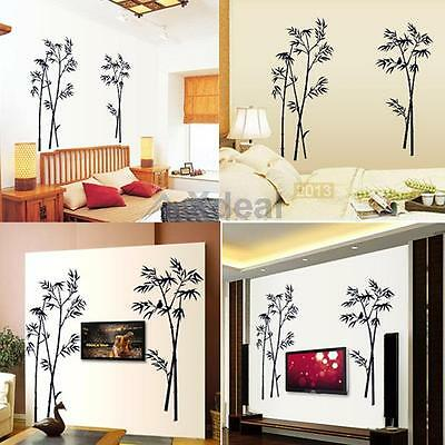 2015 Bamboo Mural Art Black Vinyl Wall Sticker Decal Home Living Room Decor DIY