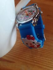 Reloj de Pulsera niños Niñas Hello Kitty Luz Azul Analógico De Acero Correa De Silicona Nuevo