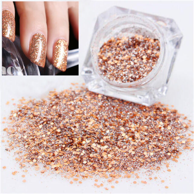 New Mixed Rose Gold Nail Art Glitter Powder Dust Acrylic UV Gel Tips Decoration