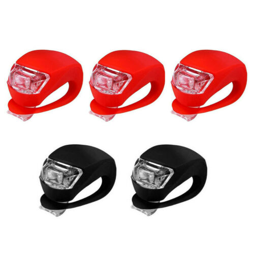 5x LED Silicone Mountain Bike Bicycle Front Rear Light Set Push Cycle Clip Light